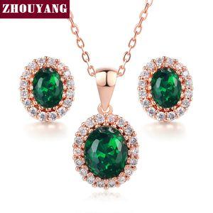 ZHOUYANG Top Quality ZYS106 oro rosa colore creato verde austriaco set di gioielli in cristallo con 2 pezzi Eearrings + collana