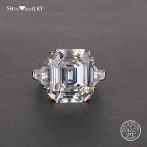Oro blanco Shipei Asscher anillo de Moissanite de hombres de las mujeres 100% 925 Moissanite el anillo de bodas del contrato de Coctail