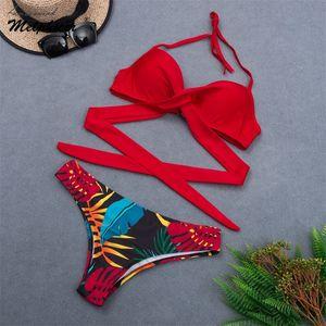 Wrap Cross Bandage Bikini Set Red Black Swimwear 2020 Girls Biquini High Waist Swimsuit Bathing Suits Maillot De Bain