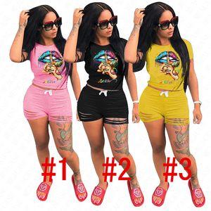 Femmes Designer Survêtement Lettres Lèvres Motif Tenues Sets Estivaux T-shirt Top et Ruffle Shorts Trou deux pièces Vêtements Streewear D62908
