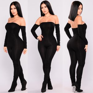 Jumpsuit Women Off Shoulder Bodycon Long Sleeve Clubwear Playsuit Jumpsuits Rompers Skinny Sexy Bare shoulders Women's Jumpsuits & Rompers
