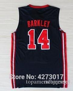 1992 баскетбольного American Dream Team One 14 Charles Barkley Спорт Униформа Темно-синяя Белый Бесплатная доставка XS-6XL жилета Трикотажного NCA