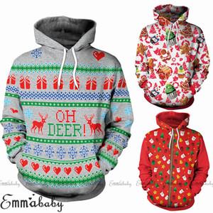 Hirigin 2018 Nuovo Natale Coppia con cappuccio Felpa con cappuccio Xmas Uomo Donna Unisex Jumper novità Pullover Felpa Top