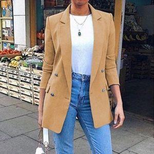 Femmes Blazer longues pour femmes Blazer Femmes Mode solide double breasted Bureau Blazers Manteaux Femme d'affaires Pardessus
