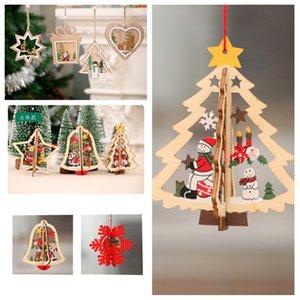 Arbre de Noël Décorations ornements en bois de fenêtre Motif pendentif Décorations de Noël coloré Accueil Festival de 8style de T2I5337