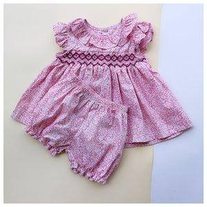 2019 Summer España niñas de algodón suave ropa de los bebés dulce floral 1-3YEARS Old Girls equipa con encanto muchacha del niño de la ropa T200526