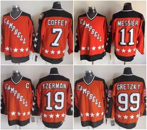 1984 Campbell 올스타 게임 19 Steve Yzerman 11 Mark Messier 99 Wayne Gretzky 7 Paul Coffey Hockey Jerseys 주황색 스티치 셔츠