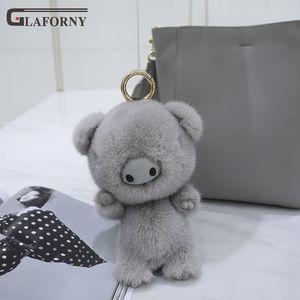 2019 Glaforny genuine Korean mink hair cute piglet angel little pig pendant fur ornament bag keychain car key chain key ring