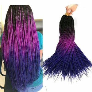 30 Roots / Pack Ombre Braiding Hair Senegalian Twist Hair Extensions Synthetic Grey Blue Colors Crochet Brainds Senegal الجملة الشعر