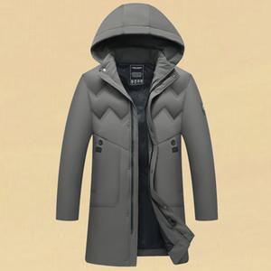 Mens Winterjacke Beiläufiges Geschäft mit Kapuze langen Daunenjacke beiläufige Art und Weise Outwear warme Kleidung verdicken doudoune homme XL-5XL