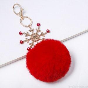 عيد الميلاد ندفة الثلج بوم بوم سلسلة المفاتيح سلاسل المفاتيح الفراء الكرة كيرينغ حقيبة معلقة سلاسل مجوهرات إكسسوارات ديكور مفتاح الهدايا
