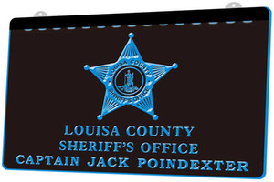 LD0117 (b) Louisa County Sheriff's office Captain Jack Poindex Neon Light Sign Decor Free Shipping Dropshipping Wholesale 8 colors to choose