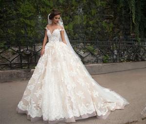 2020 Nueva blanco boda vestidos de encaje apliques de boda árabe vestido O-Cuello vestidos de novia vestido de noche árabe Vestidos de novia 2018