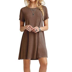 Ocasional de las mujeres de Bohemia de los vestidos de cuello redondo oscilación camiseta floja ajuste cómodo Flowy linda oscilación de la túnica vestido asimétrico de verano