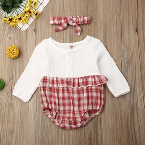 Emmababy Neonata appena nata dei ragazzi vestiti lunghi del manicotto increspature rappezzatura del plaid Lovely Fashion Body Cotton Outfit