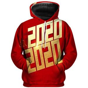 Mens Designer con cappuccio Moda Happy New Year Red Stampa Mens plus Felpe Dimensione casual Maschi Abbigliamento 3D Digital Print