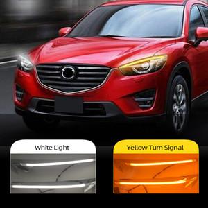 2Pcs For Mazda CX-5 CX5 2012 2013 2014 2015 2016 Car Headlight Eyebrow Decoration Yellow Turn Signal DRL LED Daytime Running Light
