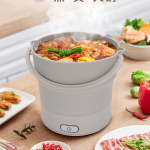 Ücretsiz Kargo Taşınabilir Katlama Hot Pot Food Grade Silikon Elektrikli Tava Kettle Isıtmalı Gıda Konteyner Isıtmalı yemek kutusu Tencere