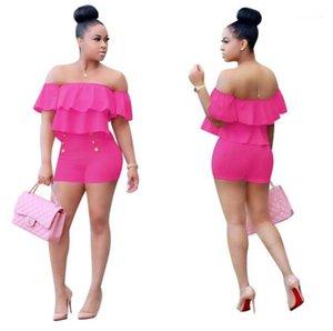 Сексуальная одежда для женщин плиссированные рябить рукава женщин 2PCS наборы лето высокой талией шорты Женские повседневные наборы Solid Color