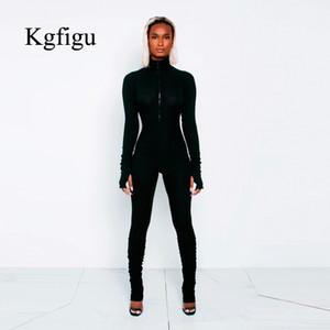 KGFIGU Женщины Черный Длинные брюки Комбинезоны женские Комбинезон Повседневный черепаха шеи твердый ребристые длинные брюки белые и оранжевые одежды V200325