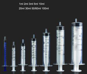 Mesure Seringue 1ml 2ml 5ml 10ml 20ml 30ml 50ml Non toxique et parfum Safe Cosmetics Outil transparent en plastique Seringue Rechargeables