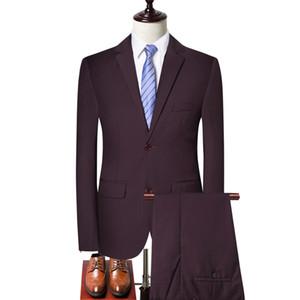 2019 Autumn New Style Men's Slim Fit Suit Three-piece Set Groom Best Man Marriage Evening Gown