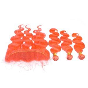 Бразильский оранжевый человеческих волос ткать пучки с кружева фронтальная закрытие 13x4 объемная волна чистый оранжевый полный кружева фронтальная с девственницей уток волос