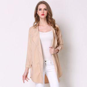 2018 Plus Size Women Trench Coat Spring Fashion Khaki Sky Blue Lapel Long Sleeve Ladies Clothes Casual Outerwear Coats Windbreaker