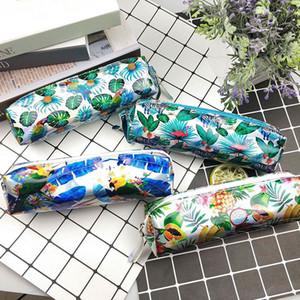 Kawaii Laser Pencil Case Cute Flamingo Pencil Bag Pouch Plant Pen Case Caja de lápices para niñas Papelería coreana Útiles escolares