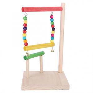 Accesorios pájaro del pájaro del juguete de madera Roer juguete Hamsters Plataforma Trampolín bastidor pivotante estación de escalera