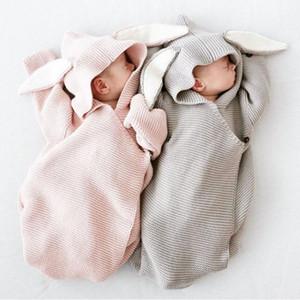 Automne Nouveau Romper Oreilles de lapin Sac de couchage pour bébé tricoté stéréo Vêtements de bébé nouveau-né bébé Romper LY191228