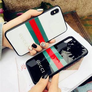 Semplici strisce verdi Coperchio della custodia in vetro temperato stampato a strisce per iphone Xs max Xr X 7 7plus 8 8plus 6 6plus Brand Design