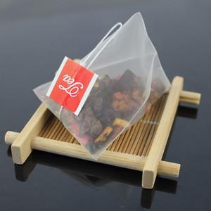 1000pcs lot Pyramid Tea Bags Filter Nylon Teabags Single String With Label Transparent Empty Tea Bag