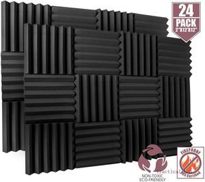 """24 Packung Acoustic Schaumplatten 2"""" x 12"""" x 12"""" Feuerbeständige - Schalldämmung Studio Foam Wedge Tiles - Ideal für Home Studio Schalldämmung"""