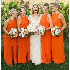 Orange Stretch Satin Bridesmaid Dresses with Jewel Neck 2020 Split Long Prom Gown Simple Party Dress