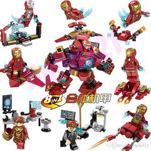 1 Süper Kahraman Avengers Marvel Yapı Taşları İÇİNDE 8 Yeni Uyumlu Ys Marvel Robot Iron Man bebek çocuk Blokları oyuncak toptan Kuklalar