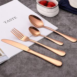 4шт Западная Посуда Набор столовых приборов Столовые приборы Набор столовых приборов розового золота Комплект нож Вилка Ложка Свадьба Посуда