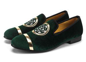 clássicos calçados masculinos casuais de Moda de Nova Homens vestido de veludo preguiçosos ouro Top e Metal Toe Handmade luxuosos apartamentos Dress Shoes 38-46