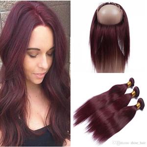 Indiani offerte capelli umani del Virgin Borgogna Bundles con 360 Frontale Etero # 99J vino rosso 360 Frontal del merletto Chiusura 22.5x4x2 con Tessiture