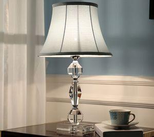 table en cristal américain lampes tissu lampshade bureau lumière bureau hôtel de luxe chambre éclairage salle d'étude chevet lampes de table modernes conduit MYY
