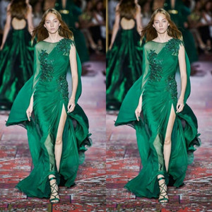 Nouvelle Collection vert foncé robes de soirée à manches longues ras du cou en mousseline de soie balayage train occasion formelle Prom Party événement Robes