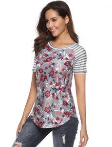 Womens İçin Yaz Kız Giyim Mürettebat Boyun Kasetli Kısa Kollu Yaz Tasarımcı Gömlek Çiçek Baskılı Tişört