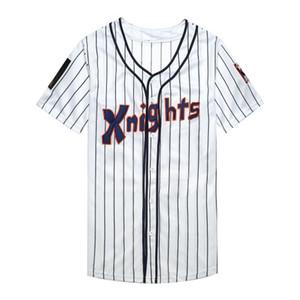 Roy Hobbs The Natural # 9 NewYork cavaleiros Redford Men Branco Cinza Baseball Jerseys frete grátis S-3XL