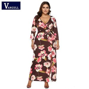 wholesale Women Dress Plus Size Dress Long Floral Print Sexy V Neck Dress Sashes Retro Maxi Dresses 2019 New Fashion Vestido Mujer