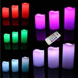 Paquete de 3 Control remoto inalámbrico de 18 teclas Color cambiado LED Vela sin llama Velas Luz de té Envío gratis