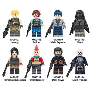 Hot battaglia quindicina di gioco royale Fortezza Jonesy Maschio Explorer notte Skull Trooper Kit amici Building Blocks Giocattoli