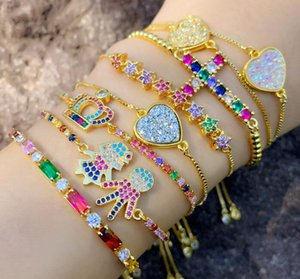 cubic zirconia colorful bracelet golden adjustable chain bracelet brazilian gold jewelry wholesale beach volleyball bracelet free shipment