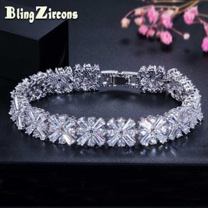 BeaQueen Full Cubic Zirconia Flower Connected Bracelets Bangles Luxury Bridal Wedding Jewelry for Women B042