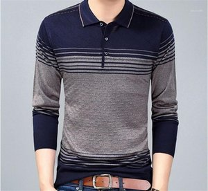 Contrast Color Clothes Mens Clothing Mens Lapel Neck Knitted Pullover Sweaters Long Sleeve Button Sweaters Casual Striped