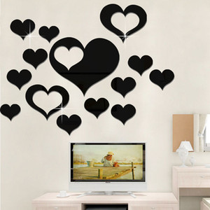 Wall Stickers amore sul muro 3D Specchio Floral Art Wall Sticker murale acrilica rimovibile decorazioni per la casa camera decorazione Droship WX9-1877
